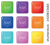 thunderstorm icons set 9 color... | Shutterstock .eps vector #1420815683