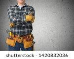 worker with a tool belt.... | Shutterstock . vector #1420832036