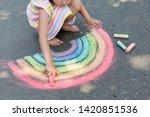 Kids Paint Outdoors. Portrait ...