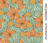 seamless colorful floral... | Shutterstock . vector #1420865186