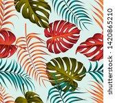 tropical leaves seamless... | Shutterstock . vector #1420865210