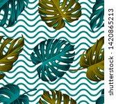 tropical leaves seamless... | Shutterstock . vector #1420865213