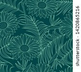 tropical leaves seamless... | Shutterstock . vector #1420865216