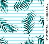 tropical leaves seamless... | Shutterstock . vector #1420865219