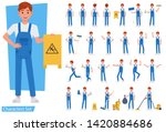 set of cleaning man staff... | Shutterstock .eps vector #1420884686