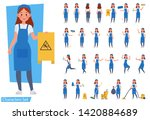 set of cleaning woman staff... | Shutterstock .eps vector #1420884689