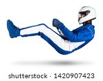 Small photo of Race driver in blue white motorsport overall hover over ground in driving seat position with shoes gloves and safety crash helmet, isolated on white abstract racing background.