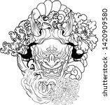 japanese demon's mask tattoo... | Shutterstock .eps vector #1420909580