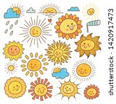kawaii sun doodle  summer sun... | Shutterstock .eps vector #1420917473