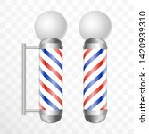 realistic barber pole. two... | Shutterstock .eps vector #1420939310