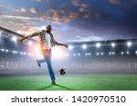 black man plays his best soccer ...   Shutterstock . vector #1420970510
