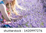 a girl with long hair collects... | Shutterstock . vector #1420997276