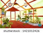 greenhouse interior with garden ...