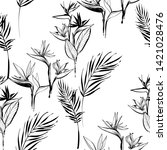 tropic outline floral seamless... | Shutterstock .eps vector #1421028476