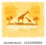grunge background with giraffe... | Shutterstock . vector #1421030003
