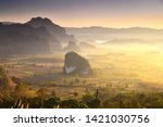 landscape and fog on the hill... | Shutterstock . vector #1421030756