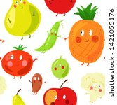 seamless vector pattern. funny... | Shutterstock .eps vector #1421055176