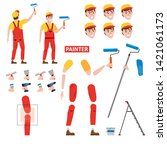 painter profession worker... | Shutterstock .eps vector #1421061173