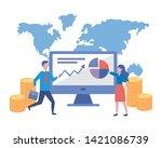 businessman and businesswoman... | Shutterstock .eps vector #1421086739