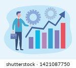 businessman with statistics bar ... | Shutterstock .eps vector #1421087750