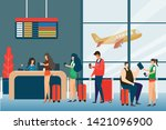 screening passengers  check in... | Shutterstock .eps vector #1421096900