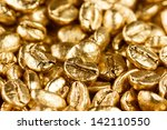 Close Up View Of Gold Coffee...