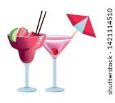 fruit and two tropical cocktail ... | Shutterstock .eps vector #1421114510