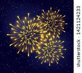 shiny fireworks on starry sky... | Shutterstock .eps vector #1421124233