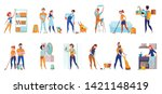 cleaning service professional... | Shutterstock .eps vector #1421148419