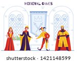 medieval kingdom court jester... | Shutterstock .eps vector #1421148599