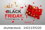 black friday sale banner. gift...   Shutterstock .eps vector #1421155220