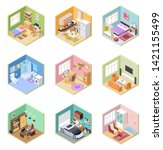 isometric rooms. designed house ... | Shutterstock .eps vector #1421155499