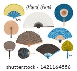 asian fans. colored hand... | Shutterstock .eps vector #1421164556