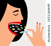 woman swallow pills. female... | Shutterstock .eps vector #1421164649