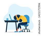 burnout concept illustration... | Shutterstock .eps vector #1421172506