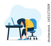 burnout concept illustration... | Shutterstock .eps vector #1421172509