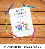 happy father day baby hand... | Shutterstock .eps vector #1421176910