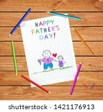 dad and son happy fathers day... | Shutterstock .eps vector #1421176913