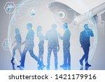 business people standing under... | Shutterstock . vector #1421179916