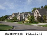 upscale houses on a suburban... | Shutterstock . vector #142118248
