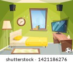 teen room. small bedroom for... | Shutterstock .eps vector #1421186276