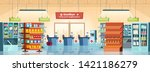 supermarket background. grocery ... | Shutterstock .eps vector #1421186279