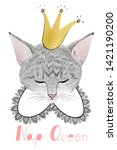 Stock photo sleeping cat princess wearing a crown nap queen poster with cute kitten nap queen quote lettering 1421190200