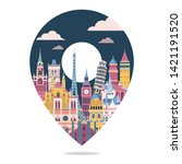 europe famous landmarks. travel ... | Shutterstock .eps vector #1421191520