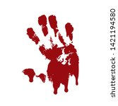 bloody hand print isolated... | Shutterstock .eps vector #1421194580