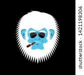 Stock photo yeti serious emoji abominable snowman with cigar bigfoot bespectacled emotion face 1421198306