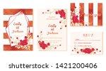 set of wedding invitation card  ... | Shutterstock .eps vector #1421200406