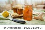 kombucha contains vitamins b1... | Shutterstock . vector #1421211950