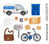 vector set of mail icons.... | Shutterstock .eps vector #1421221973
