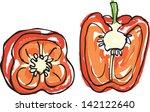 fresh red bell peppers sliced... | Shutterstock .eps vector #142122640
